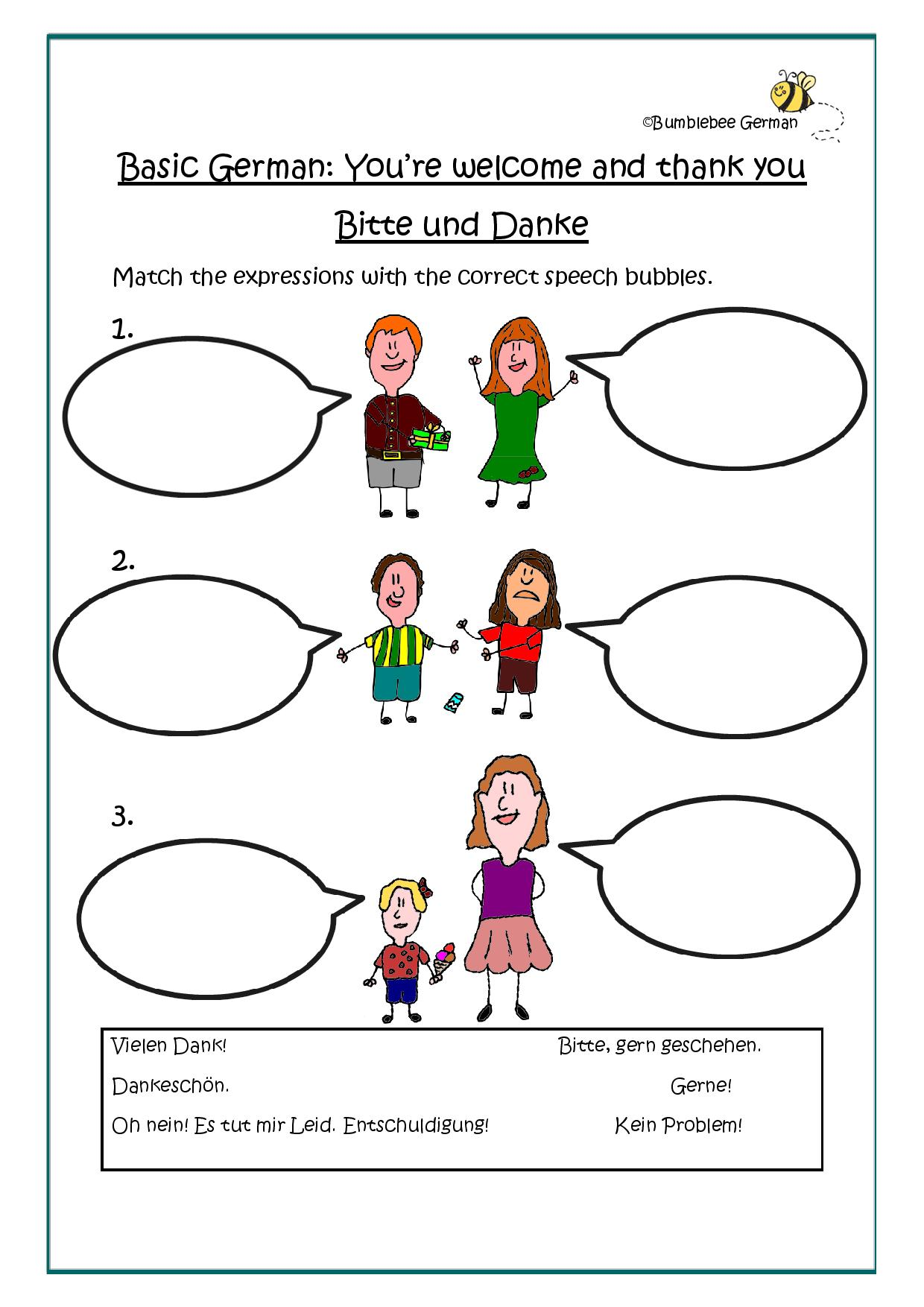 German worksheets for kids: You're welcome and thank you / Bitte und Danke  This is a very quick exercise but it should shed light onto a couple of phrases/expression which don't… Continue